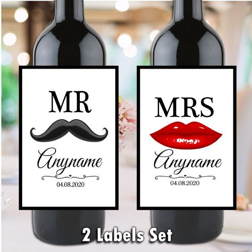 Personalised Mr & Mrs Wedding Moustache & Lips design Wine / Champagne Bottle Label Set (Qty 2) N160
